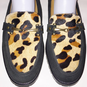 TALBOT'S Black Suede/Animal Print Calf Hair Mule